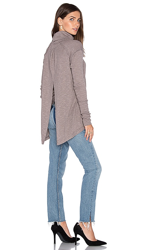 Free People L/S Turtle Top in Taupe