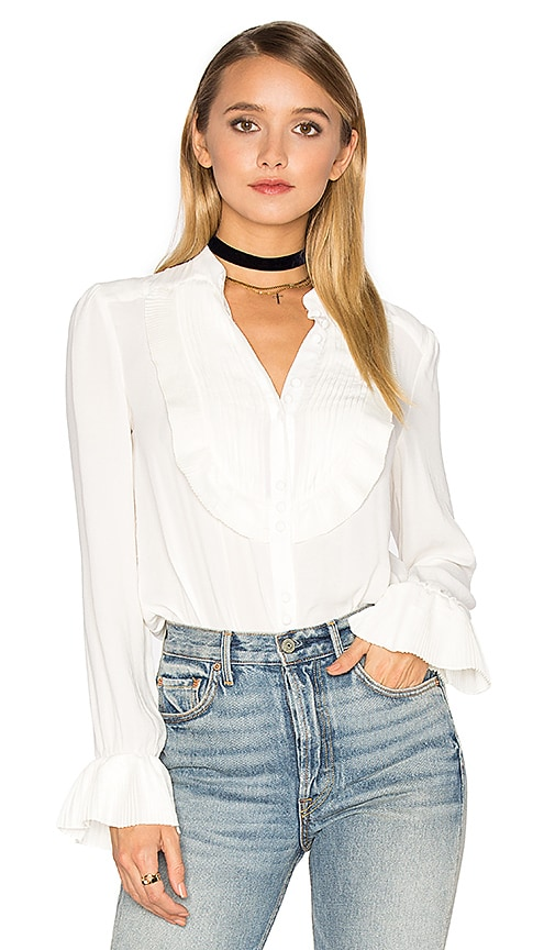 Free People Ruffle Pintuck All Shook Up Top in Ivory