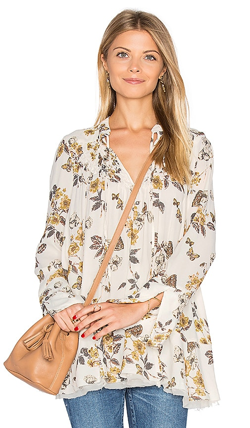 Free People Pebble Crepe So Fine Smocked Tunic Top in Ivory