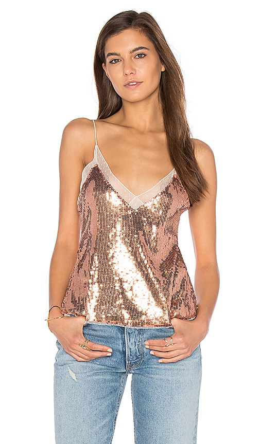 Free People Sassy Sequins Cami in Metallic Copper