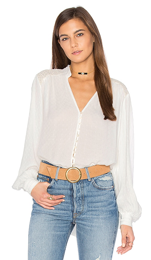 Free People Canyon Rose Button Down Top in Ivory