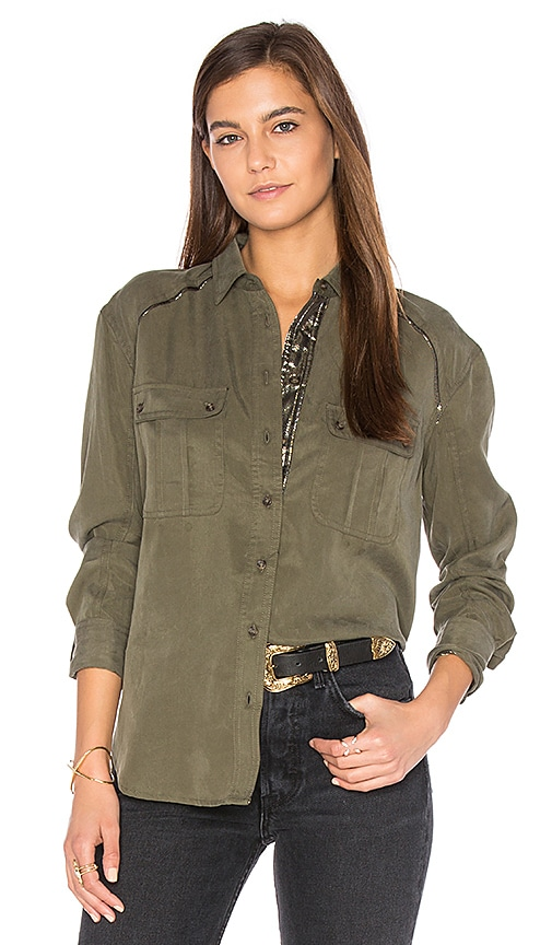 Free People Off Campus Button Down Top in Army