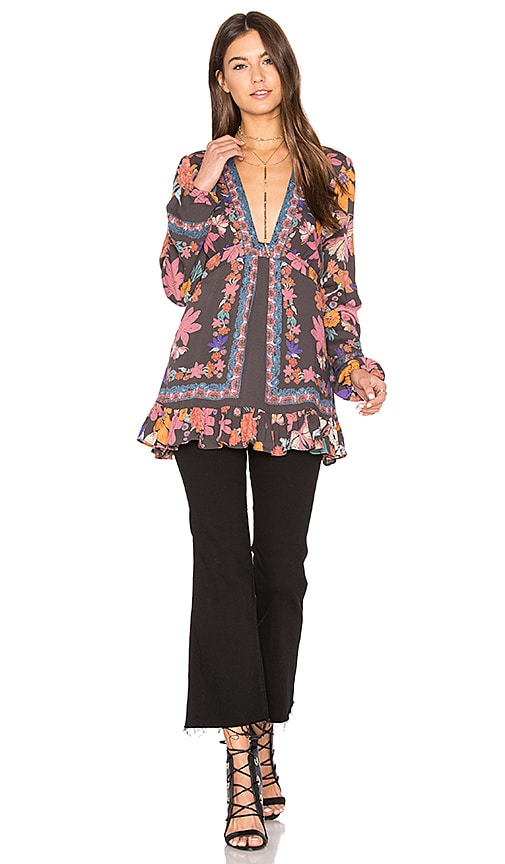Free People Violet Hill Printed Tunic Top in Charcoal