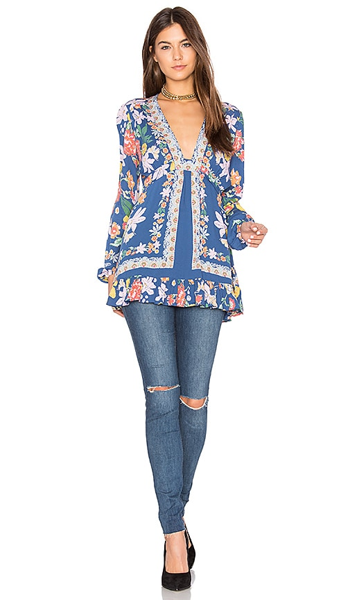 Free People Violet Hill Printed Tunic Top in Blue