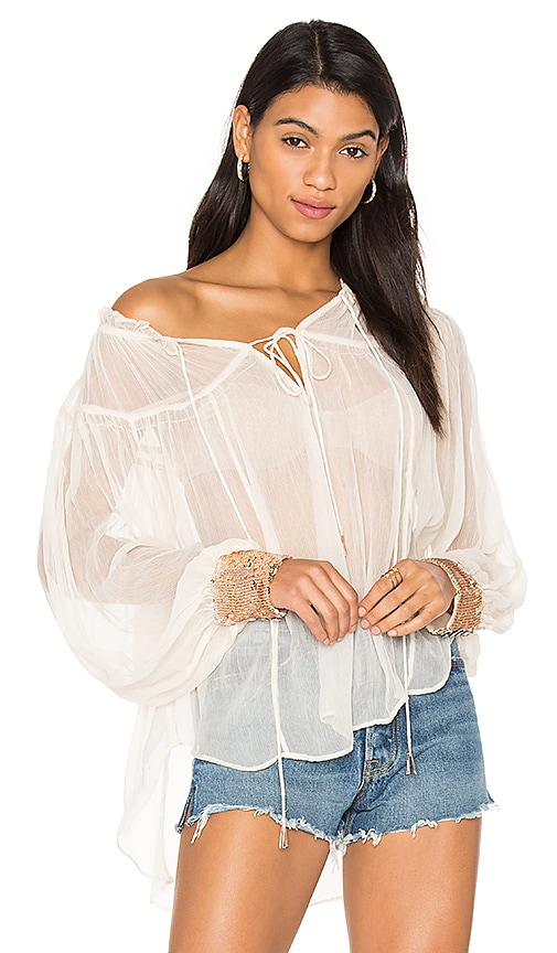 Free People Dream Cuff Blouse in White