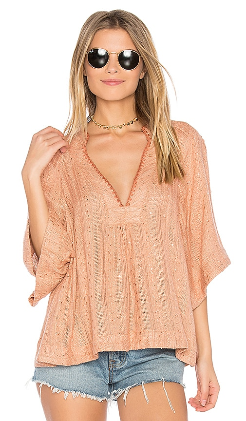 Free People Get Over It Striped Pullover in Pink
