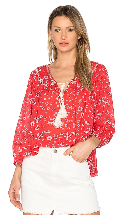 Free People Never a Dull Moment Blouse in Red