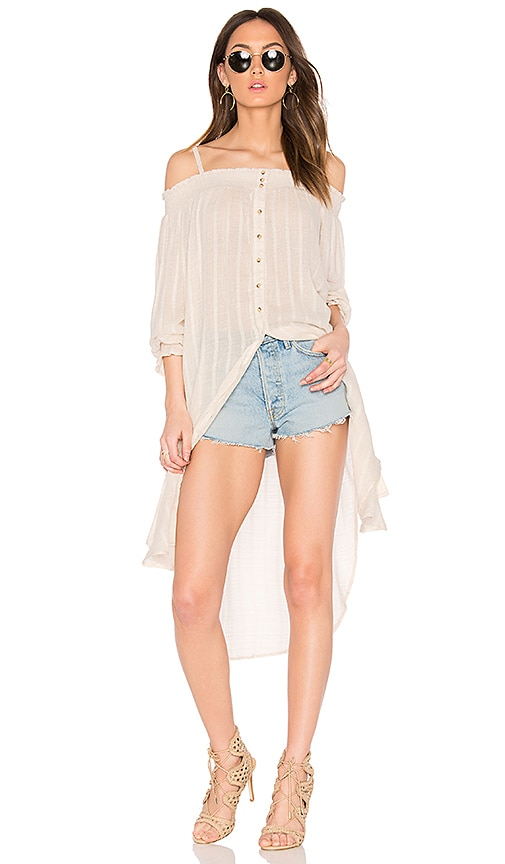 Free People Wild Adventures Maxi Shirt in White
