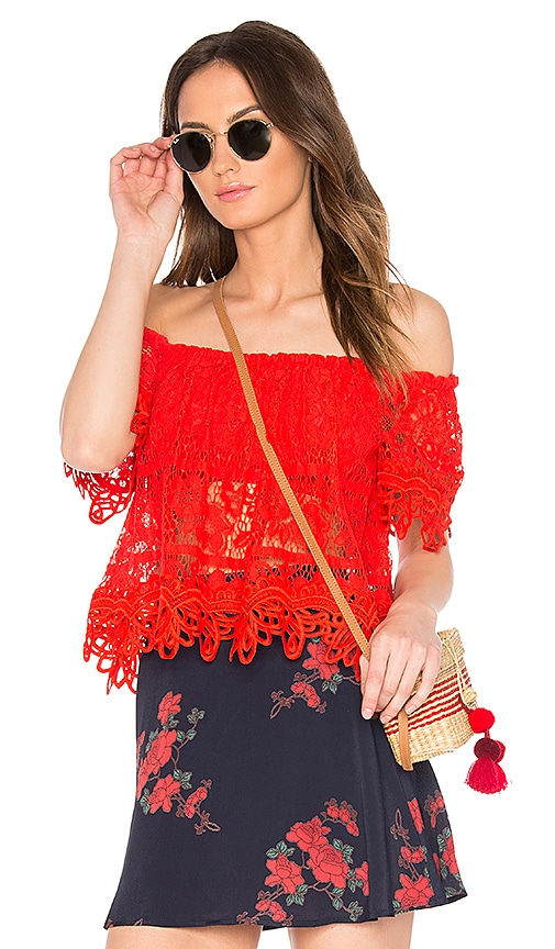 Free People Sweet Dreams Lace Crop Top in Red