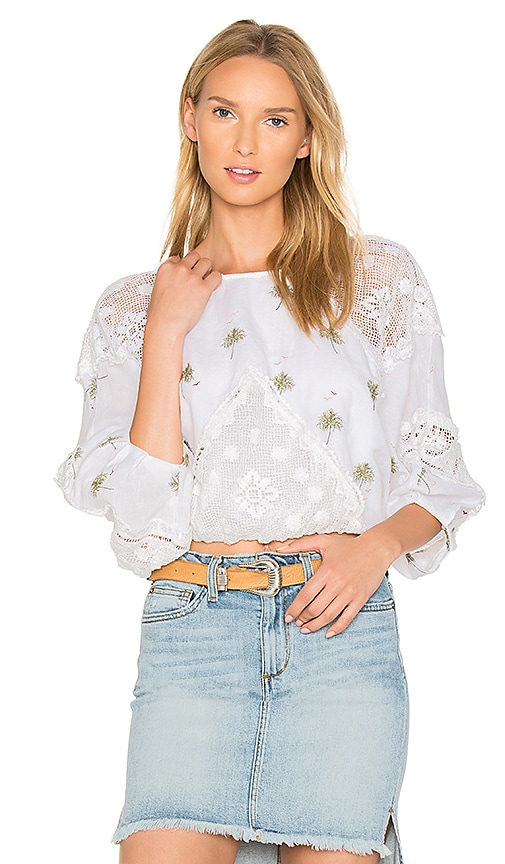 Free People Carolina Mindset Embroidered Top in White