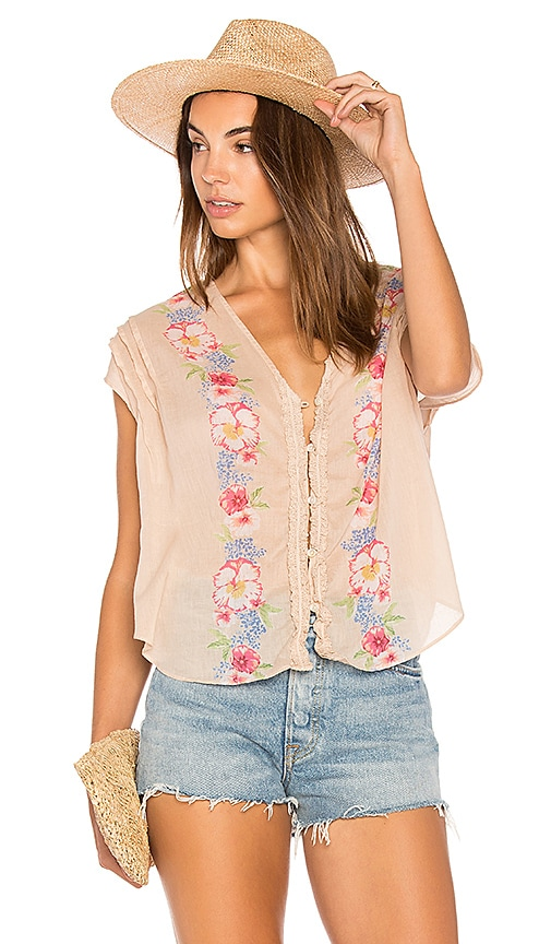 Free People Gardenia Top in Beige