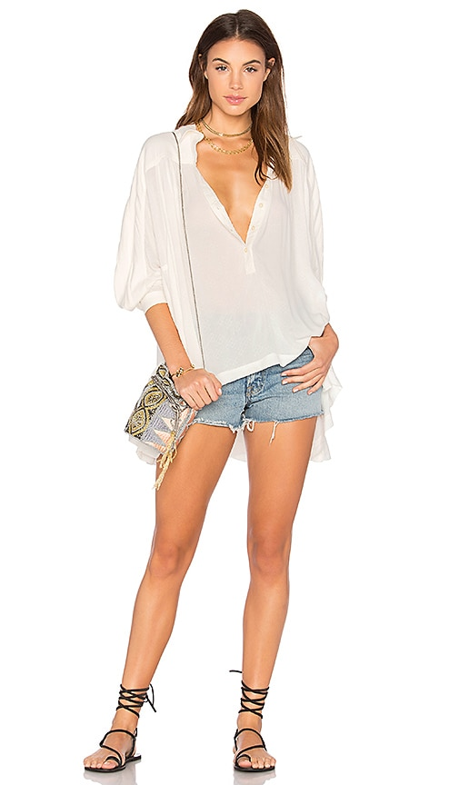 Free People Lovely Day Button Down Top in White