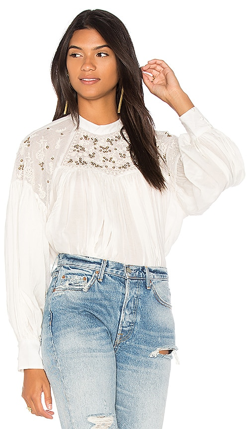 Free People Have It My Way Embroidered Top in White