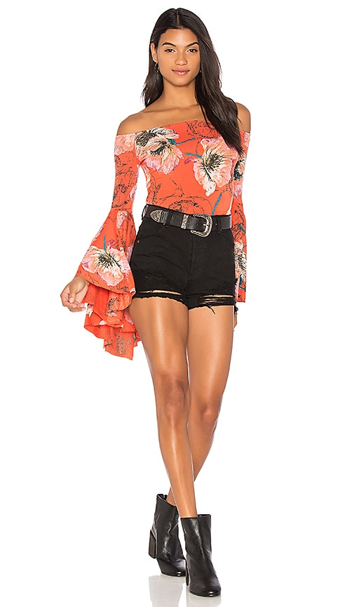 Free People Printed Birds of Paradise Top in Red