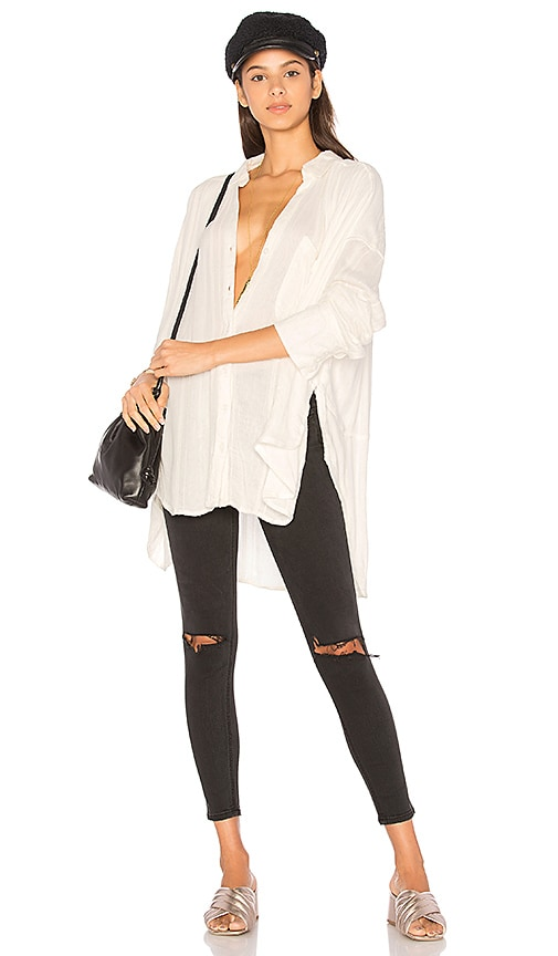 Free People Cozy Nights Button Up Top in Ivory