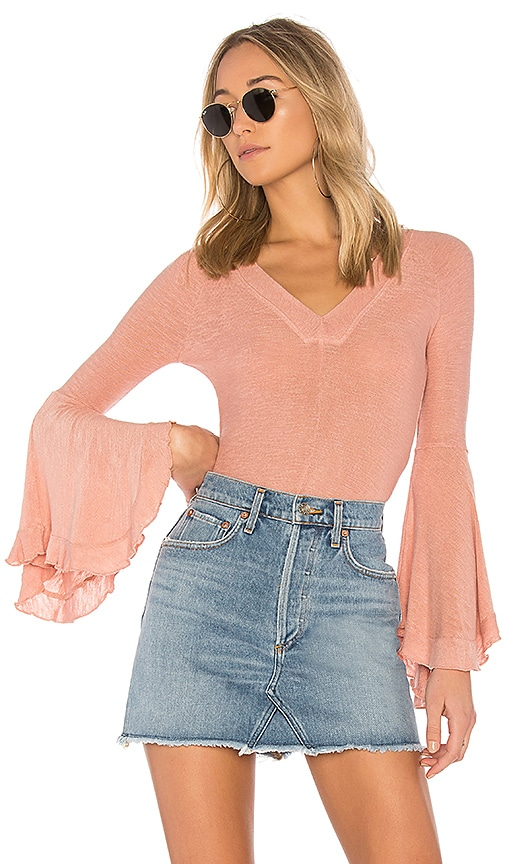 Free People Soo Dramatic Long Sleeve Tee in Pink