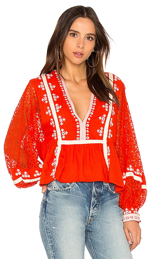 Free People Boogie All Night Blouse in Red