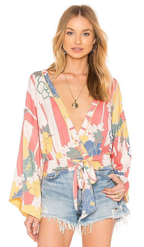 Free People That's A Wrap Printed Top in Pink