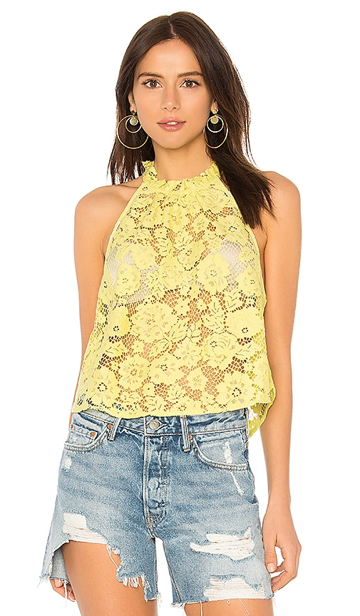 Free People Sweet Meadow Dreams Lace Top in Yellow