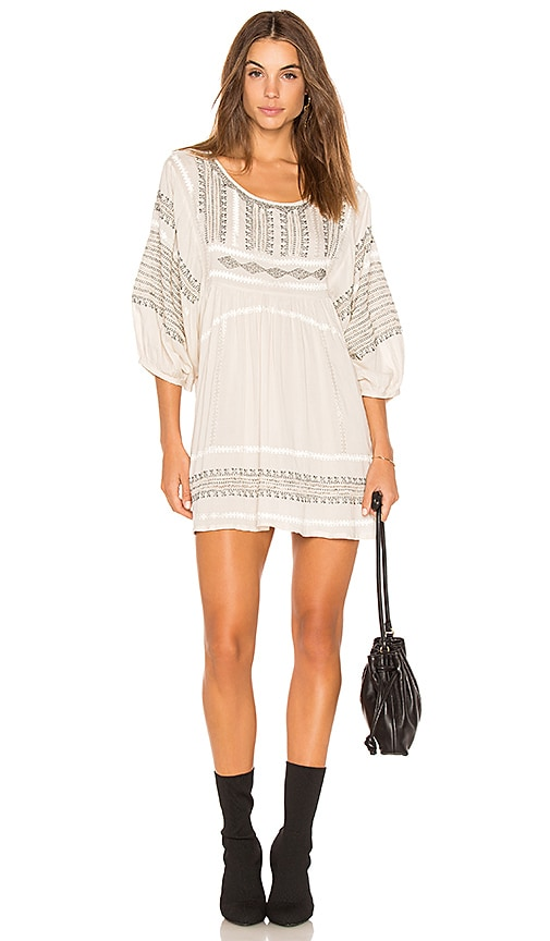 Free People Wild One Embroidered Top in Ivory