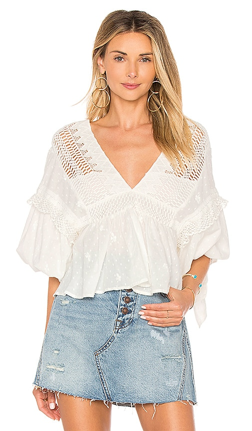 Free People Drive You Mad Blouse in Ivory