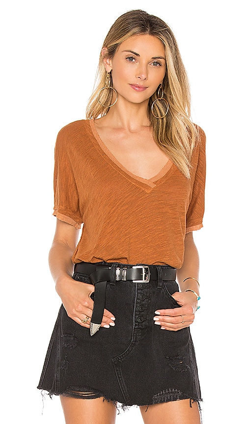 Free People Take Me Tee in Brown