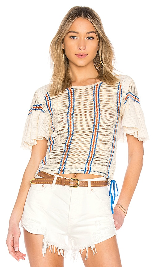 Free People Babes Only Striped Tee in Ivory
