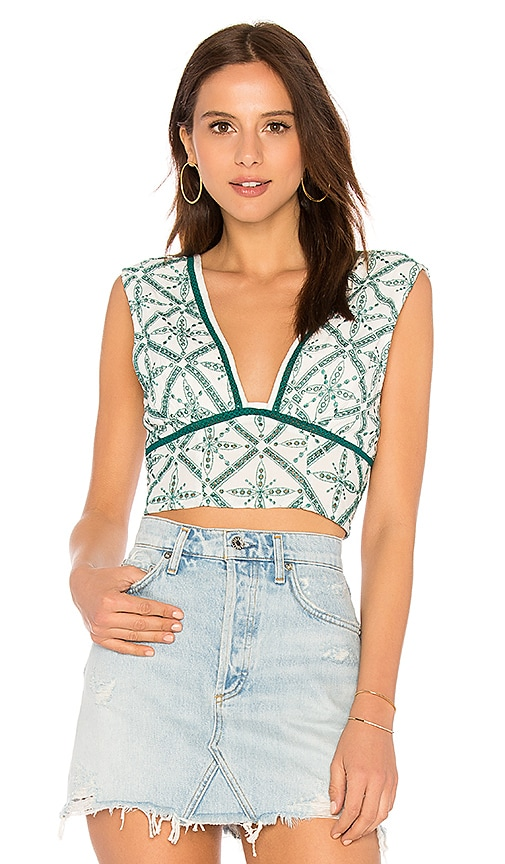 Free People Tell Me About It Top in Green