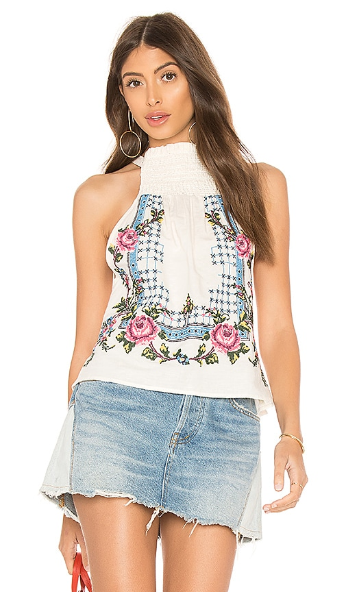 Free People Honey Pie Embroidered Tank Top in White