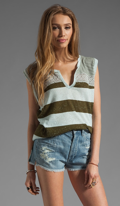 Pieced Mesh Stripe Top