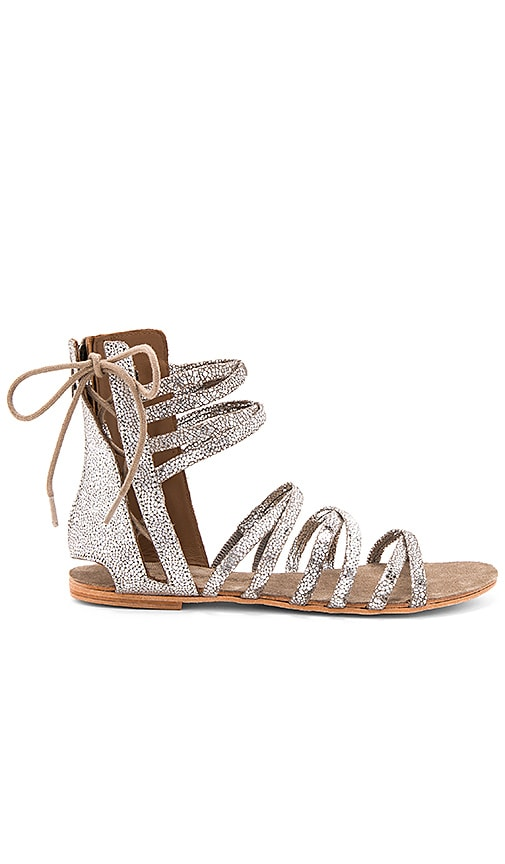 Free People Juliette Wrap Sandal in Metallic Silver
