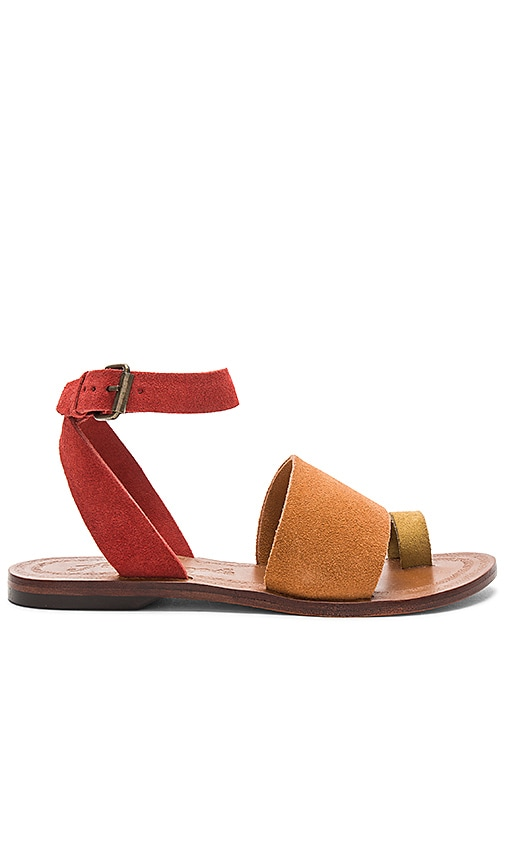 Free People Torrence Flat Sandal in Burnt Orange