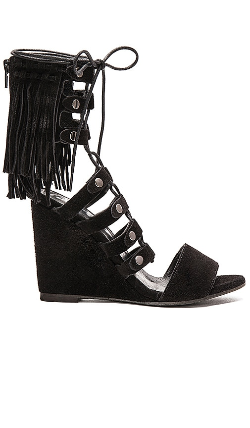 Free People Solstice Fringe Wedge in Black