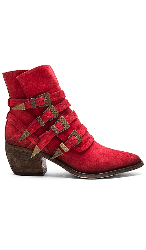 Free People Mason Western Bootie in Red