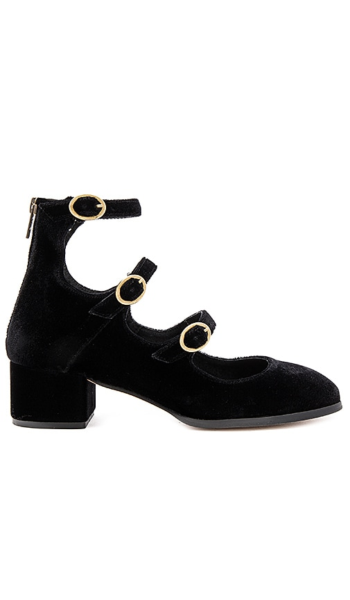 Free People Mercury Block Heels in Black Velvet