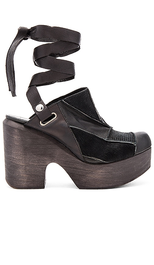 Free People Into the Patchwork Cow Hair Clog in Black