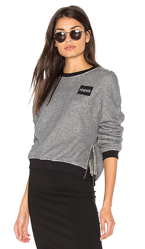 Frankie Patch Pullover Sweatshirt in Gray
