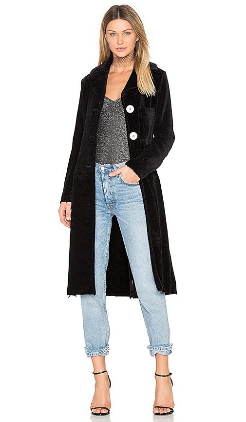 Frankie Velour Glitter Coat in Black