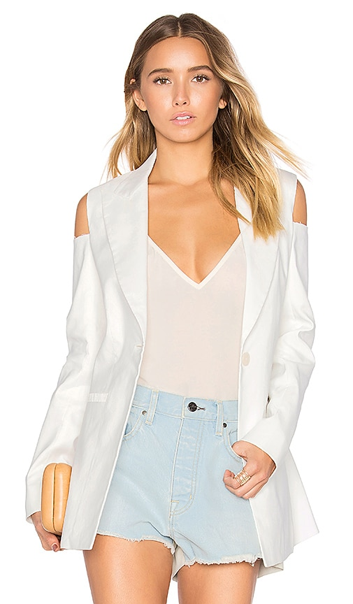 Frankie Cold Shoulder Blazer in White