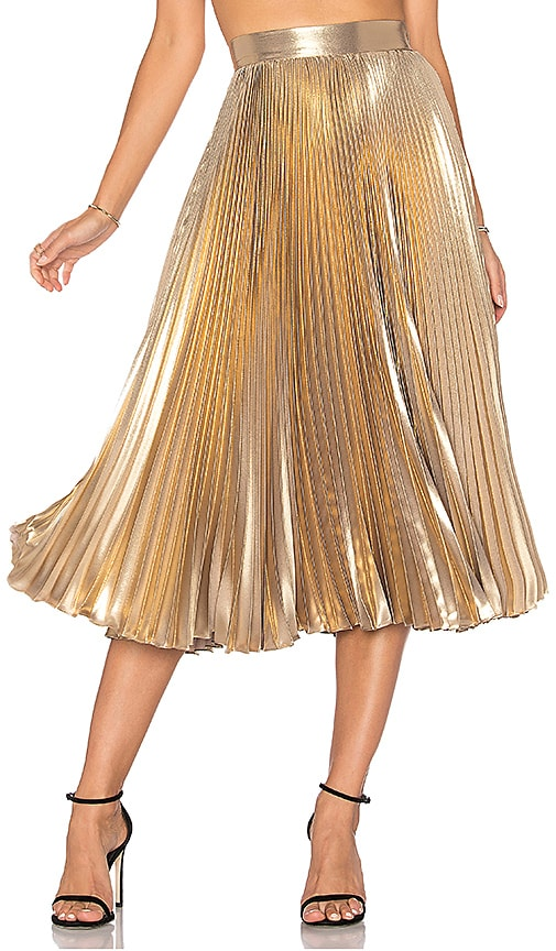 Frankie Pleated Skirt in Metallic Gold