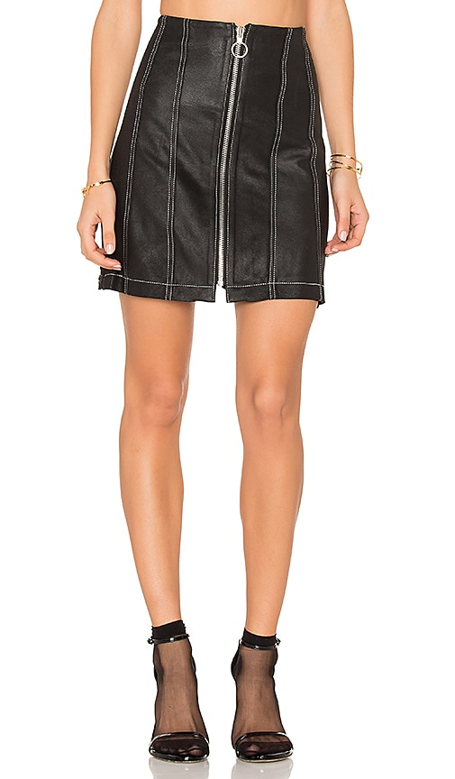 Frankie Leather Stitched Skirt in Black