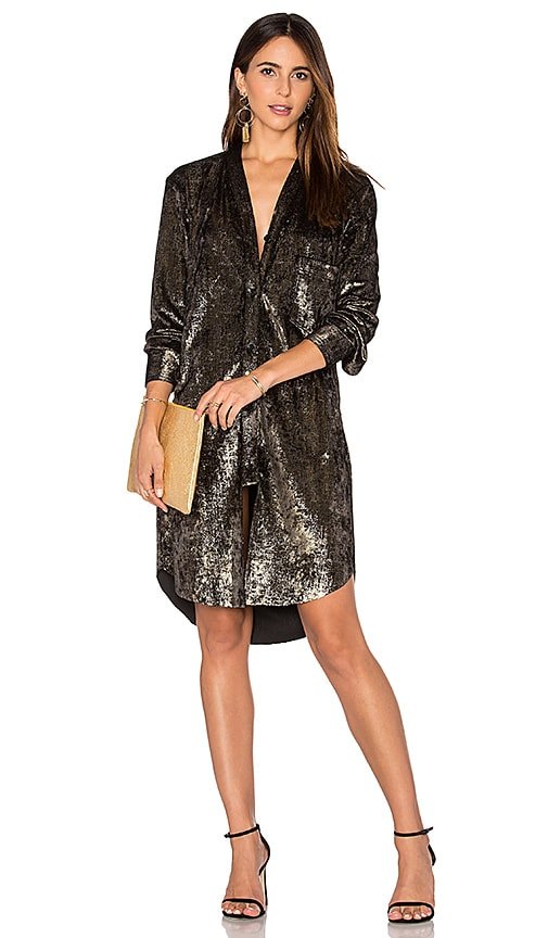 Frankie Velvet Shirt Dress in Metallic Bronze