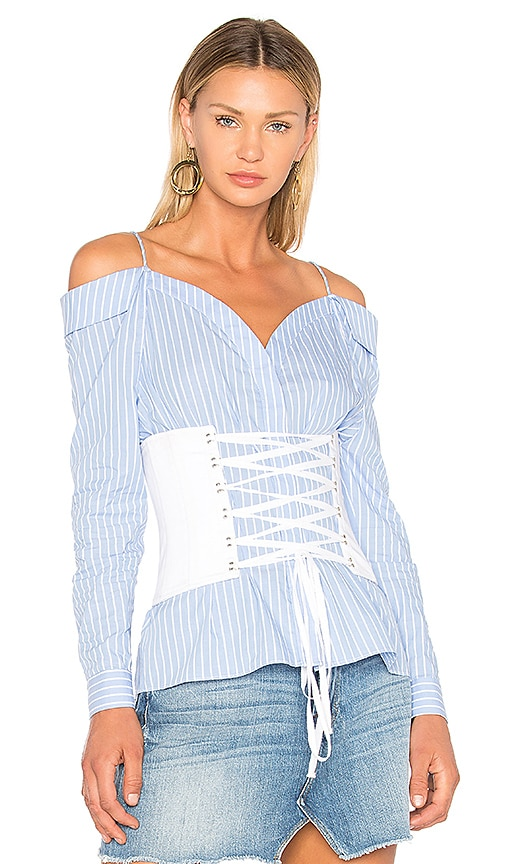 FAME AND PARTNERS Coco Corset Top in Blue
