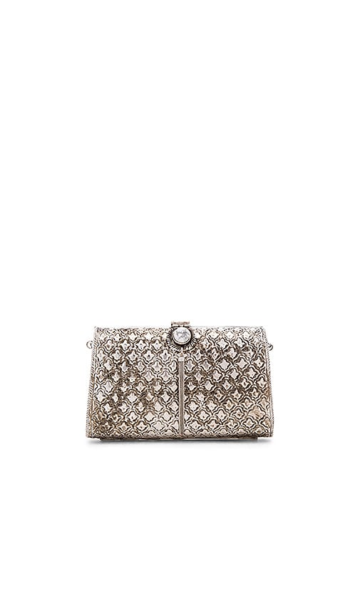 From St Xavier Zara Clutch in Metallic Silver
