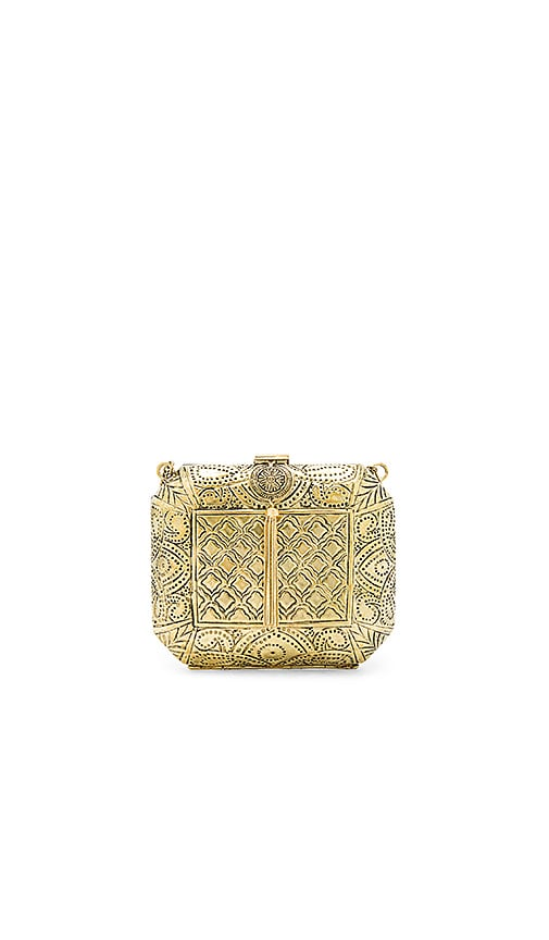 From St Xavier Louis Clutch in Metallic Gold