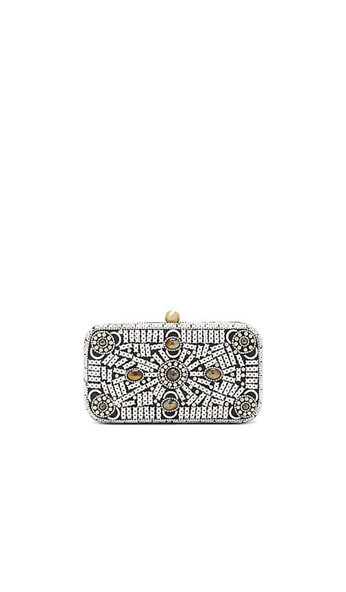 From St Xavier Hannah Box Clutch in Metallic Silver