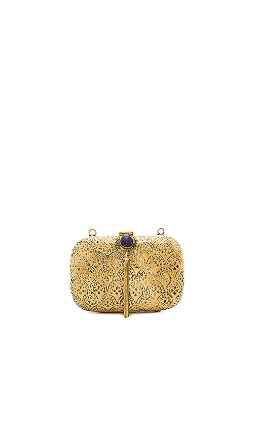 From St Xavier Tasha Clutch in Metallic Gold