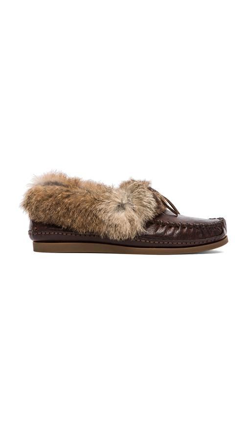 Mason Cuff Slipper with Rabbit Fur and Sheep Shearling