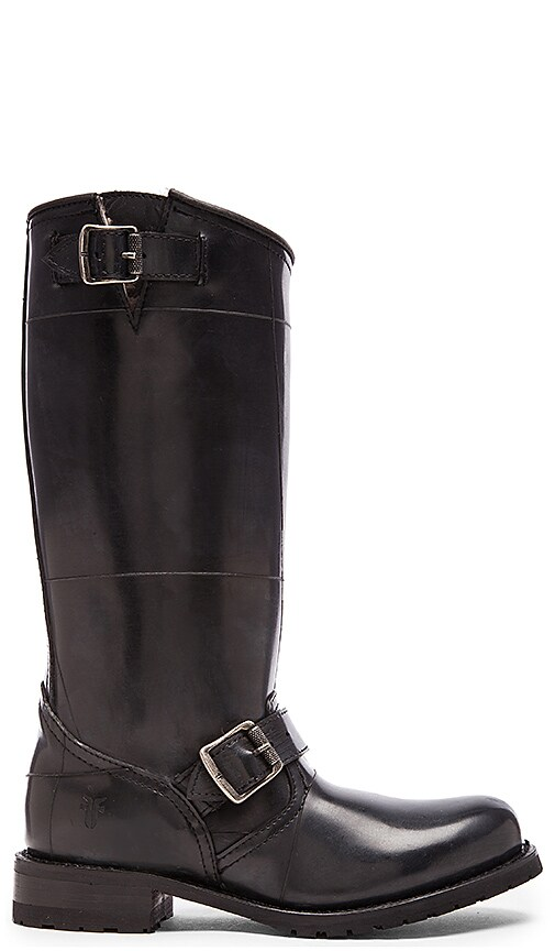 Frye Engineer Rabbit Shearling Tall Boot in Black