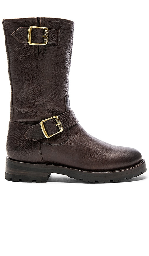 Frye Natalie Mid Engineer Shearling Lined Boot in Chocolate Brown
